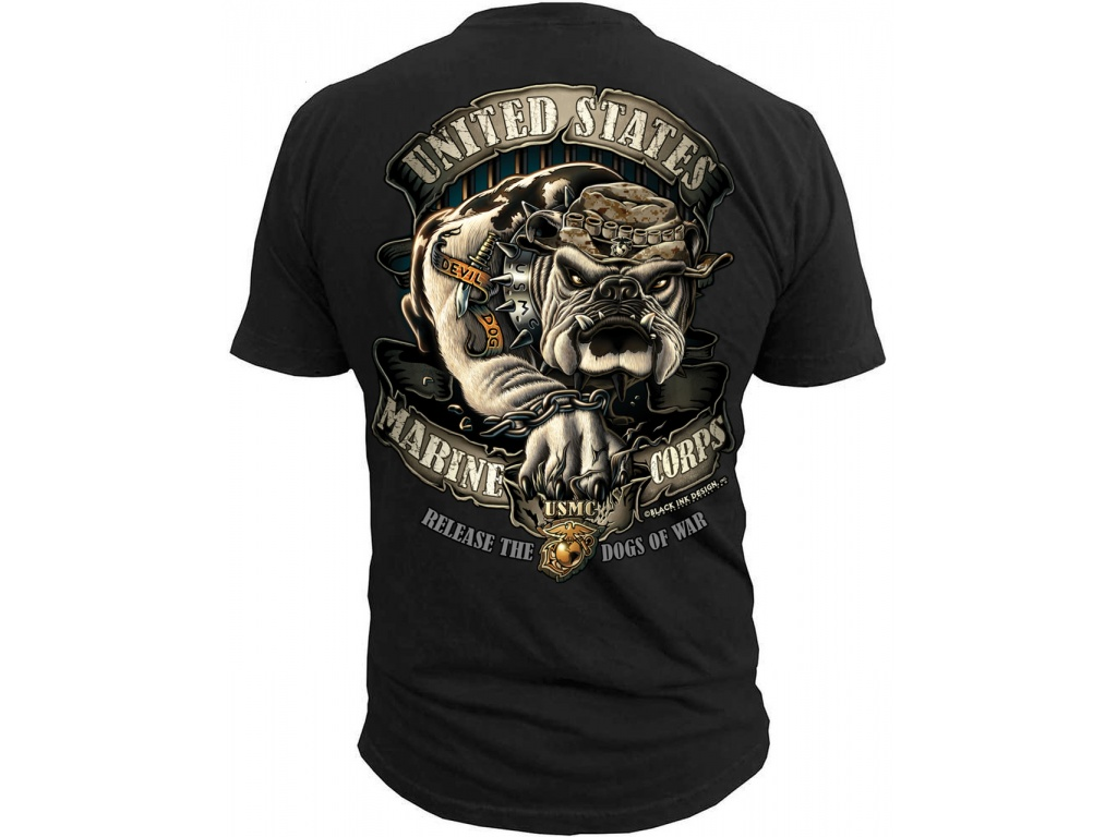 Remera Black Ink USMC Bull Dog
