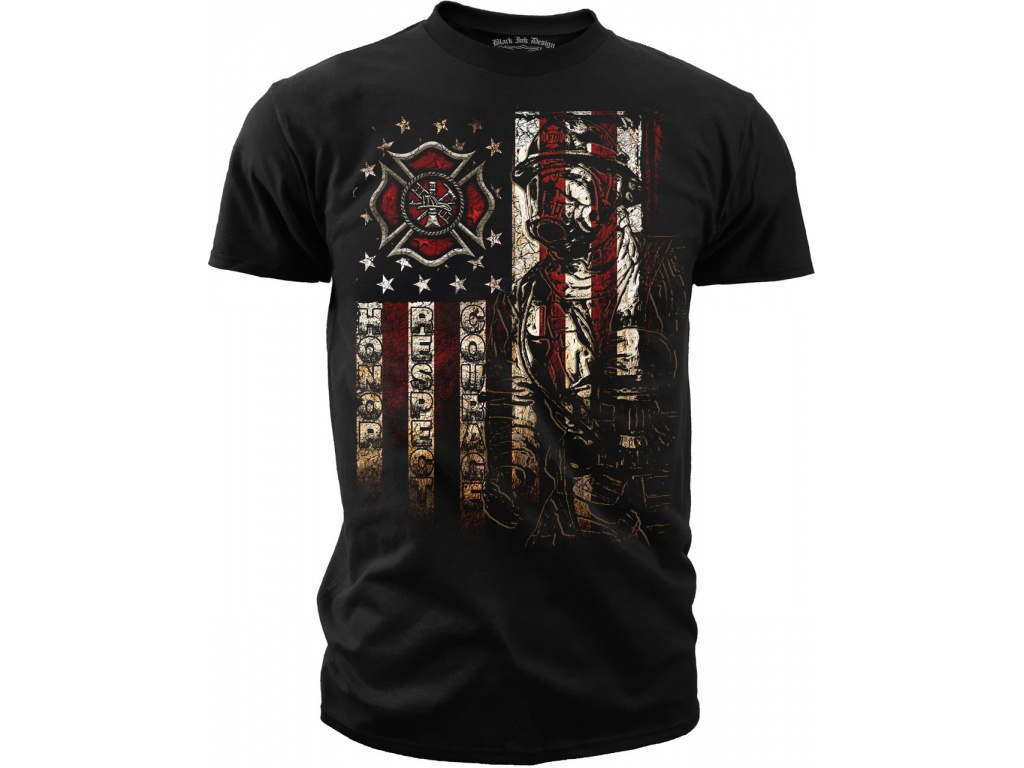 Remera Black Ink Firefighter American Flag