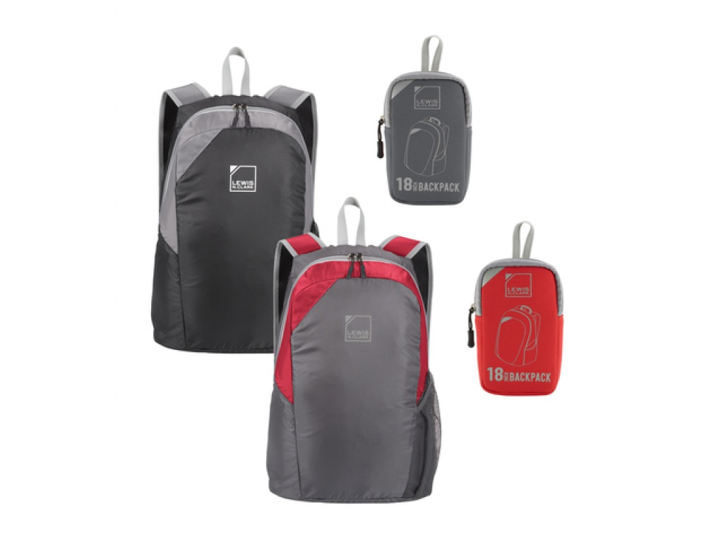 Mochila ultracompactable con bolsa de neopreno (roja)